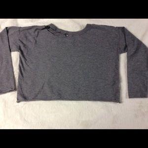 Garage Sift Grey Torn Collar Raw Edge Crop Sweater